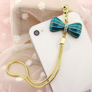 Blue Bow Knot anti dust plug, cute anti dust plug for iPhone 4, iPhone 4s, iPhone 5 and any 3.5 mm earphone plug