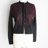 Vintage 1950s Black Cardigan Sweater With Burgundy Lace Trim, Empress Knitwear