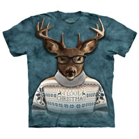 LOVE CHRISTMAS The Mountain Funny Christmas Nerdy Reindeer T-Shirt S-3XL NEW