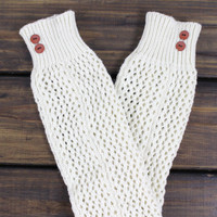 Womens Knit Legwarmers, Womens Boot Socks, Ivory Boot Socks, Knitted Boot Cuffs, Knit Legwarmers with Buttons, Knee High Boot Socks, Socks