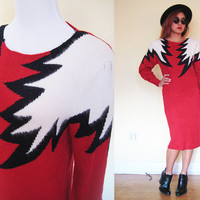 Vintage 80's red thunder puff sleeve disco glam pop art midi sweater dress long sleeves bodycon