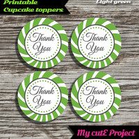 """Thank you - Cupcake toppers - Light Green - Instant Download - Party printable - Party favor - Candy Bar - 5 cm / 2"""""""