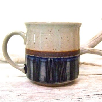 Vintage Stoneware Mug | Coffee or Tea | Cobalt Blue | Etched Design | Otagiri Style | Japanese Stoneware Mug | Speckled Ceramic Mug