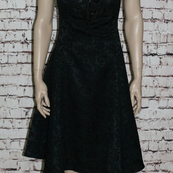 90s Cocktail Dress 14 Skater Black Jessica Mcclintock Grunge Goth Cyber Hipster full Evening  XL XXL Plus Size Rayon 70s Brocade 80s  Sequin