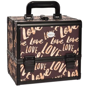 JOLIGRACE Makeup Train Case Cosmetic Organizer Box Lockable with 3 Trays and a Brush Holder Brown (Love Pattern)