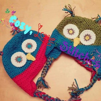 Custom Crocheted Owl Hat - Custom Crochet Owl Hat - Winking Owl Hat - Wide Eyed Owl Hat - Handmade Owl Hat - Baby Owl Hat - Kids Owl Hat