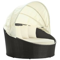 Siesta Outdoor Rattan Espresso with White Cushions Canopy Bed  | Overstock.com