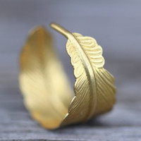 Feather Ring Gold Infusion Bohemian Gold Feather by ArtisanTree