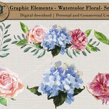 Quality Time Designs | Watercolor Floral Elements | Digital Download | Personal or Commercial Use | Transparent Background | PNG | Graphic