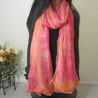 Women Chiffon Scarf, Orange And Pink Long Fabric