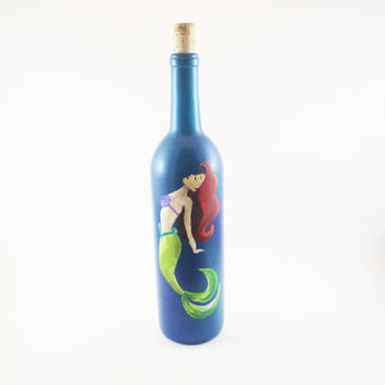 Hand Painted Disney Inspired Up-Cycled Wine Bottles: Part of Your World, The Little Mermaid