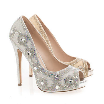 Eternity102 Rhinestone Studded Peep Toe Stiletto Heel Dress Pumps