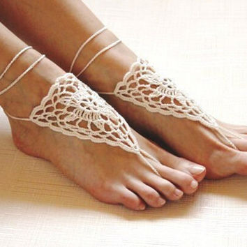 Handmade Knitting Hollow Out Lace Anklet Bracelet Crochet Barefoot Sandals Foot Jewelry Accessory Gift-24