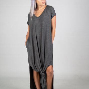 Basic Oversized Maxi Dress in Charcoal