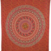 Azzura Orange Mandala Bohemian Yoga Beach Wall Boho Tapestry