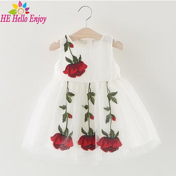 HEHello Enjoy baby girl dress summer 2017 baby dress 1 year birthday dress Sleeveless embroidery roses bowknot christening dress