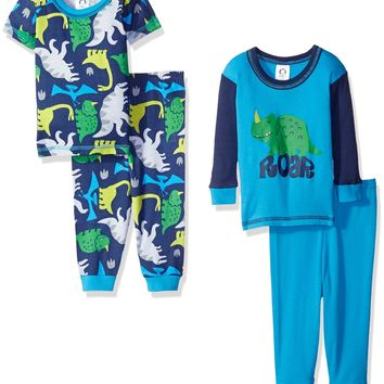 Gerber Baby and Little Boys' 4 Piece Cotton Pajama Set