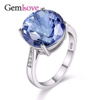 Gemlove Tested 7 CARAT Tanzanite Topaz 925 Sterling Silver Diamond Hola Jewelry Blue Gemstone Rings Women Wedding Ring 40% FJ011