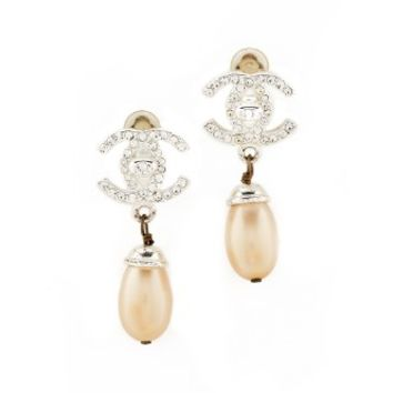 Chanel Imitation Pearl Dangle Earrings (Previously Owned)