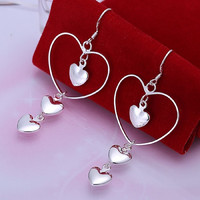 Elegant Fashion Jewelry 925 Silver Plated Stud Dangle Earings Eardrop Big Heart With Three Little One = 1958389444