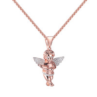 Baby Angel Praying Guardian pendant Rose Gold over Sterling Silver