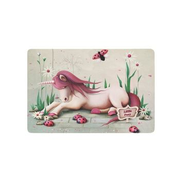 Autumn Fall welcome door mat doormat Fairy Tale Anti-slip  Pink Toy Pony Unicorn Indoor Outdoor Entrance  Rubber Backing 23.6 X 15.7 Inches AT_76_7