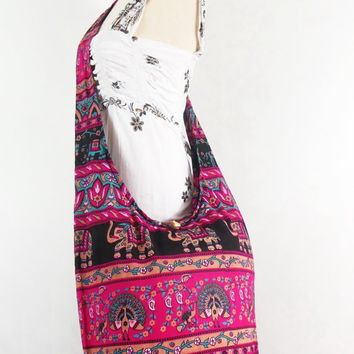 Vintage pink Peacock print Hippie Boho Hobo Bag - Unisex handbags bohemian gpysy Sling Cotton Crossbody  Shoulder Messenger bag Purse