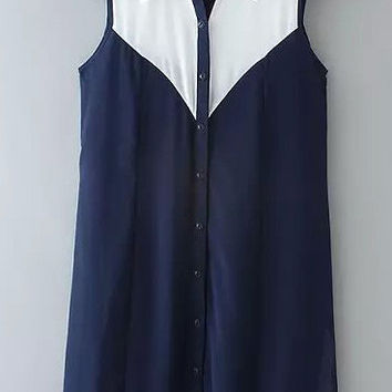 Blue and White Sleeveless Lapel Chiffon Mini Dress
