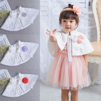 Newbron baby Shawl Lace Coat Girls Cloak Flowers Coats Baby Cardigan Wedding Infant Jackets White red For Baptism Dress