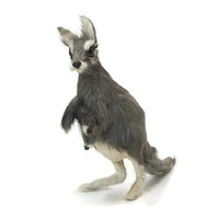 Vintage Kangaroo and Joey Baby in Pouch - Fur Animal Figurine Sculpture - Grey Australian Kangaroo Knick Knack
