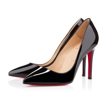 Christian Louboutin Cl Pigalle Black Patent Leather 100mm Stiletto Heel Classic