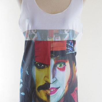 Johnny Depp Shirt -- Johnny Depp T-Shirt Actor Film Movie T-Shirt Johnny Depp Funny T-Shirt Women Tank Top Sleeveless Vest Tunic Size M