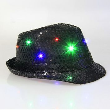 Cool Unisex LED Flashing Glow Cotton Fabric Dome Hip-Hop Hat Club LED Hat