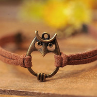 owl bracelet,retro bronze lovely owl pendant bracelet,brown wax rope chain bracelet---B046