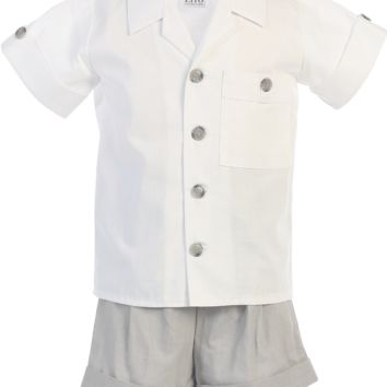 Light Grey Linen Blend Shorts & Shirt Set 2 Piece Dresswear Outfit (Baby or Toddler Boys)