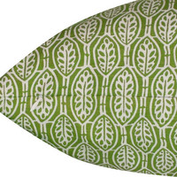 Braemore Batik Leaf Pillow Cover in Lily Pad - SAME Fabric BOTH Sides - Invisible Zipper
