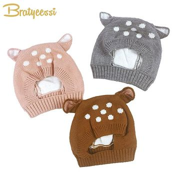 New Deer Baby Hat with Ears Cartoon Winter Baby Bonnet Knit Elastic Kids Hats Infant Cap Christmas for 6-24 Months 1 PC