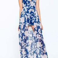 FLORAL CAGED MAXI ROMPER