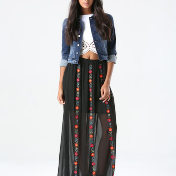 bebe Womens Floral Stitch Maxi Skirt Black Multi