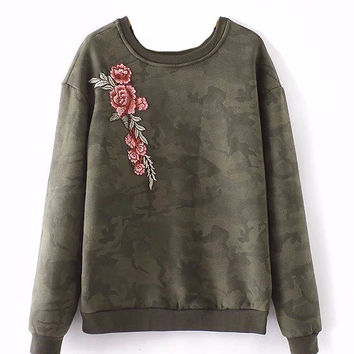 Camouflage and Rose Soft Pullover Sweatshirt