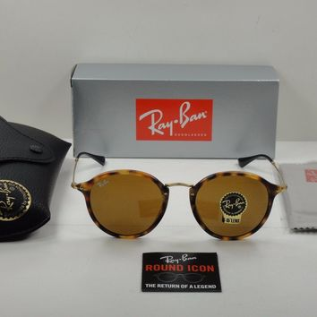 RAY-BAN ROUND FLECK SUNGLASSES RB2447 1160 TORTOISE & GOLD/BROWN B-15 LENS 49MM
