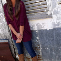 Burgundy 3/4 Sleeve Piko | The Rage