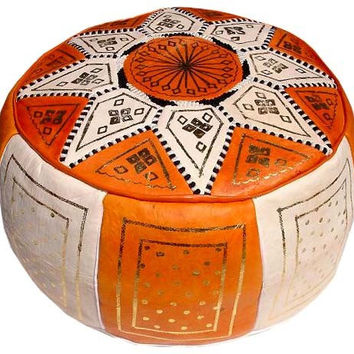 Moroccan Pouf leather Pouf Ottoman Poof Pouffe pouffes hassock Footstool orange