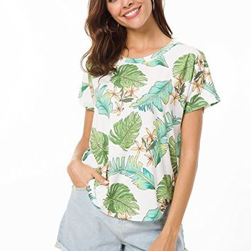 Women's Casual Crew Neck Batwing Short Sleeve High Low Hem Loose Top