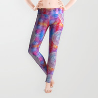 Colorful Watercolor Mandala Flower Leggings by Smyrna