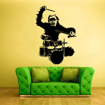 Wall Vinyl Sticker Decals Decor Art Bedroom Design drum bass Instruments Gorilla Monkey Ape Music (z2556)