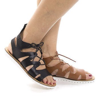 Sam17 Whisky Pu By Wild Diva, Open Toe Gladiator Lace Up Flat Form Sandals