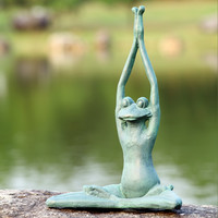 Stretching Yoga Frog Garden Statue