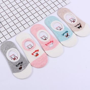 Adult Size 1lot=5pairs Ankle Sock Slippers Pet Dog Teckel Beagle Pome Collie Dachshund Poodle Gel Invisible No Show