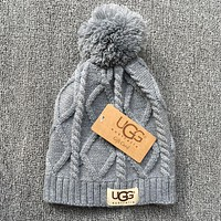 UGG Autumn Winter New Knit Women Men Warm With Small Ball Cap Hat Grey